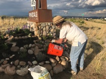 Dianna Trapp waters with buckets collected from nearby the New Fork River