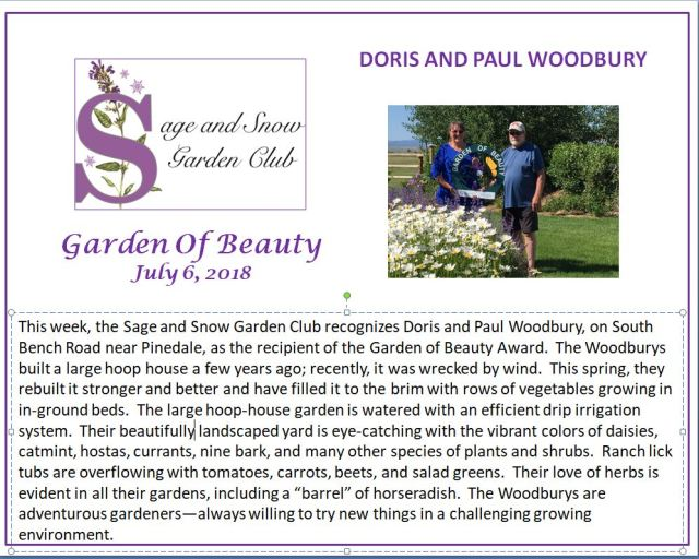 Doris and Paul Woodbury garden of beaty